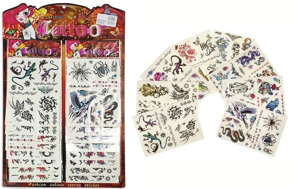 Tattoos 8-fach sortiert - auf Karte im Beutel ca 13x23,5 cm