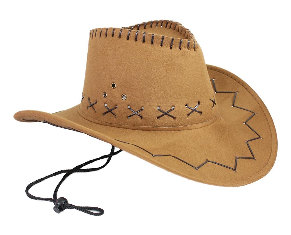 Cowboyhut hellbraun Velourlederoptik