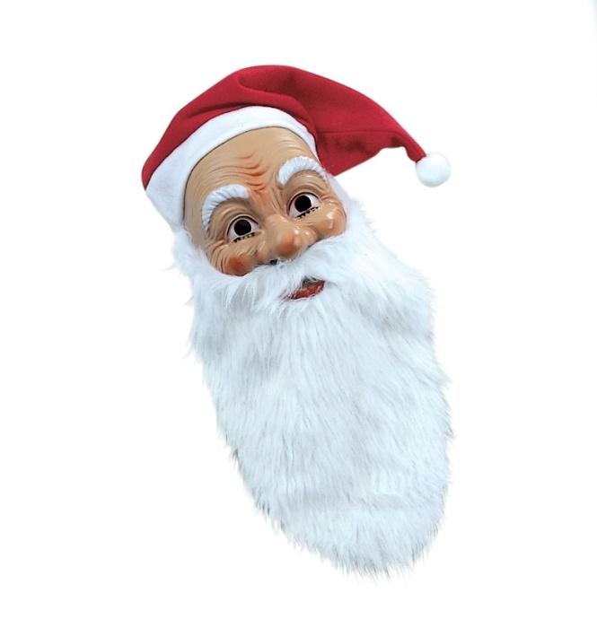 Nikolausmaske mit Plüschbart und Flanellmütze