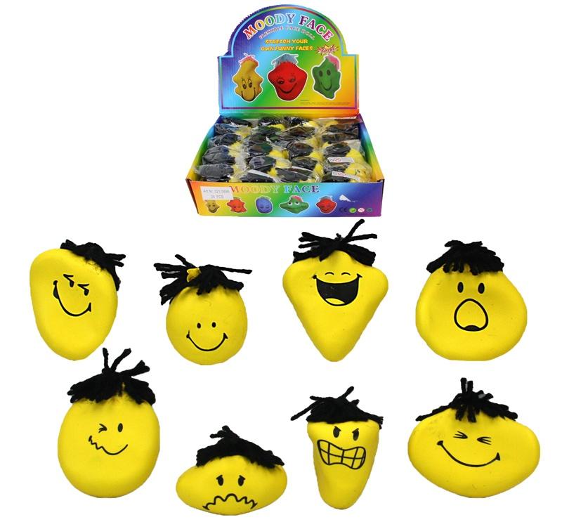 Knetgesicht Funny Face gelb -  8-fach sortiert ca 7 x 5 cm