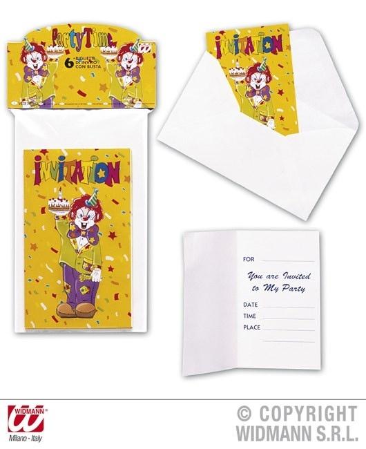 Einladungskarte mit Umschlag Clown 6er Set