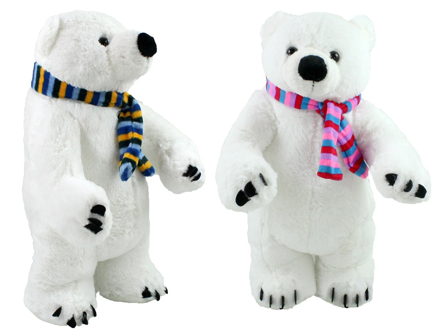 Eisbär mit Schal 2-fach sortiert stehend ca 45 cm