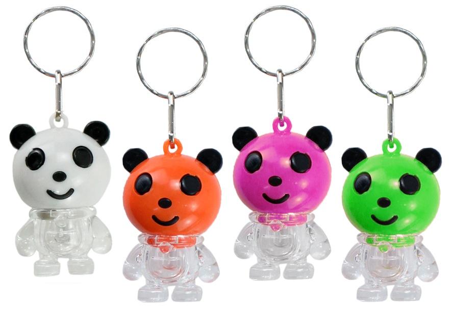 Panda 4-fach sort mit LEDs an Schlüsselanhänger - ca 4,5cm