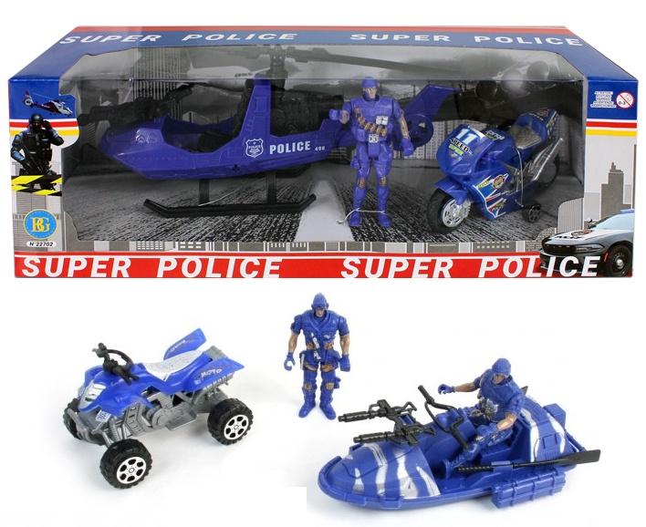 Polizeiset mit Boot, Fahrzeug + Figur