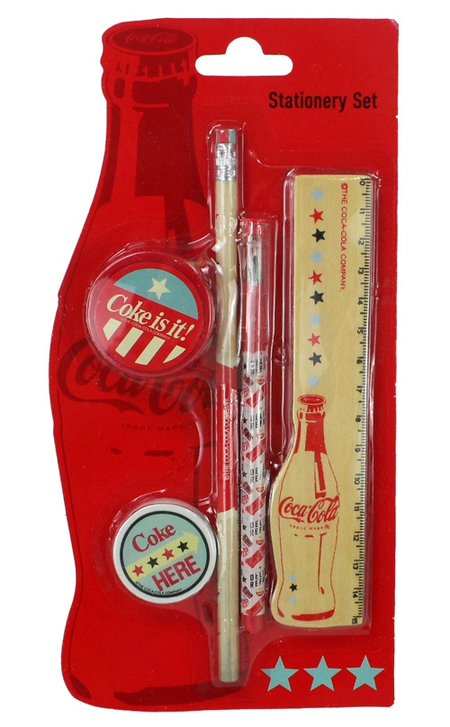 COKE AMERICANA Coca Cola Schreibset 5 teilig - ca 24x12cm