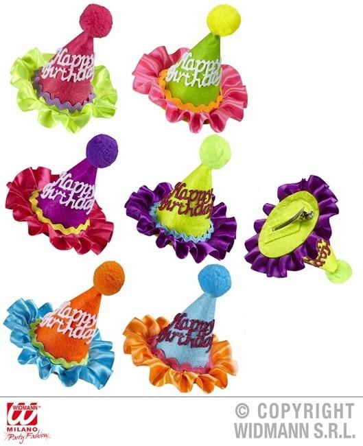 Minihüte Neonfarben HAPPY BIRTHDAY mit Haarcclip - ca 10cm