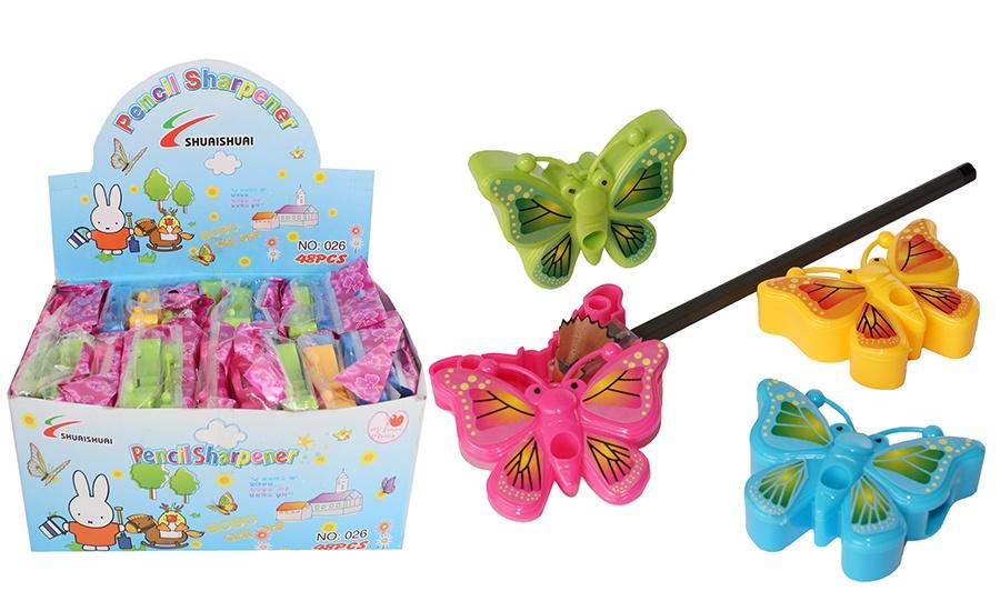 Anspitzer Schmetterling 4-fach sort ca  6,5x4,5x1,5 cm