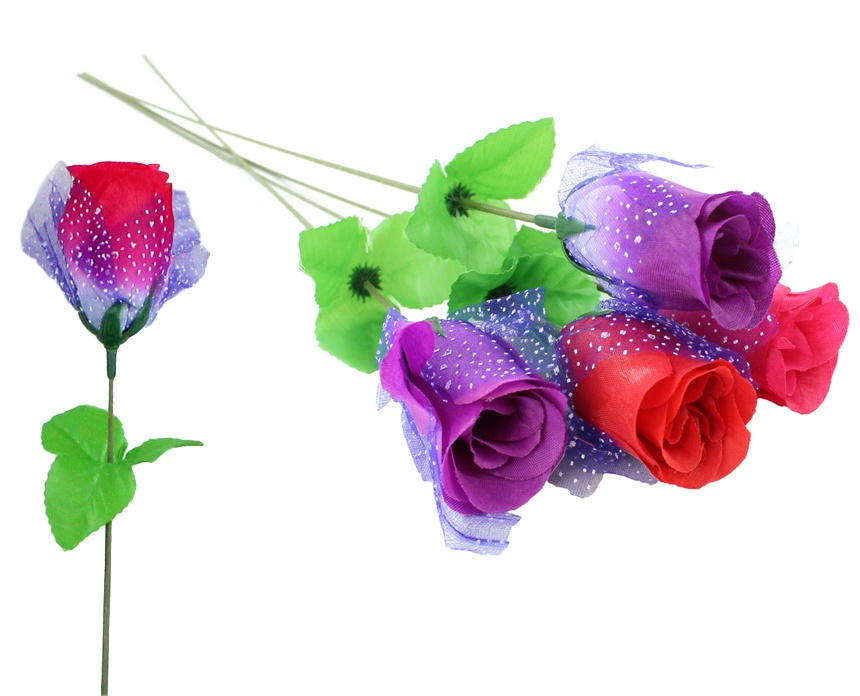 Seidenrose Knospe mit Tüll 4 Farben sortiert ca 45 cm