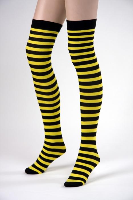 halterlose Strümpfe Biene, gelb/schwarz