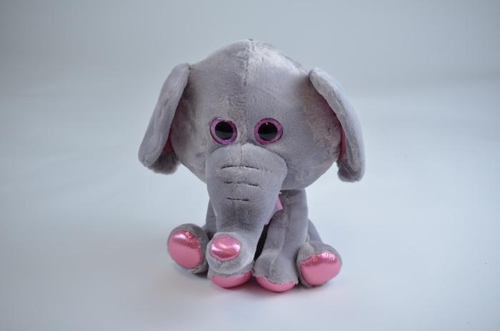 Elefant mit Glitzeraugen und rosa Glitzerapplikation ca 42cm
