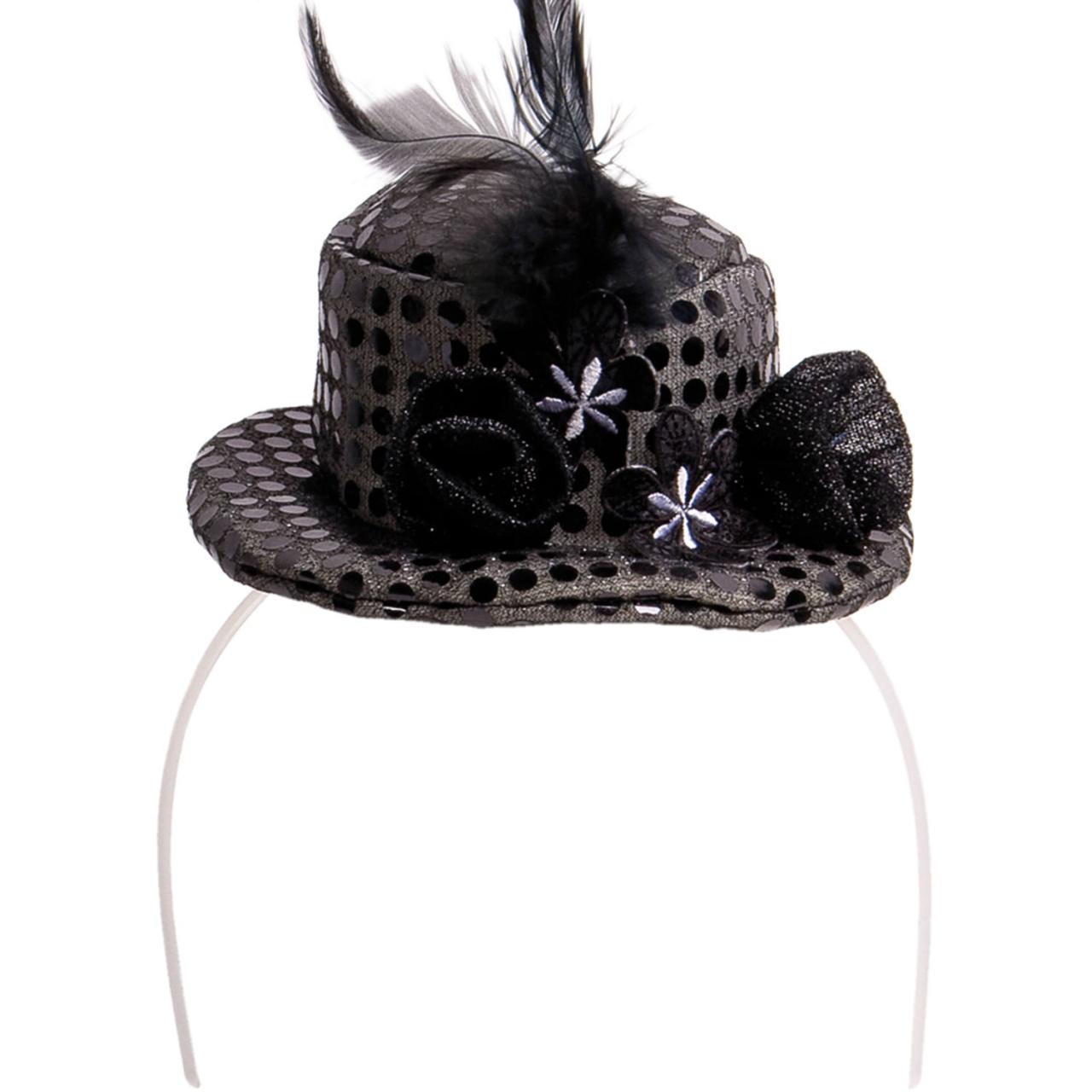 Haarreif mit schwarzem Hut, Blume und Feder