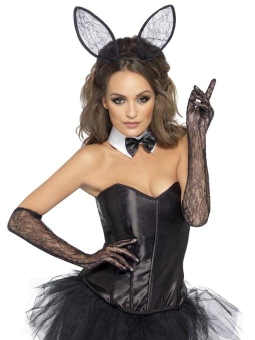 Bunny Set schwarze Spitze 3 teilig - im Beutel ca 29x22cm
