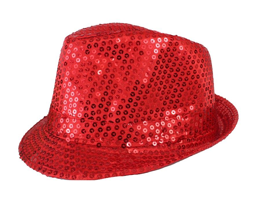 Hut Paillettenhut rot für Erwachsene