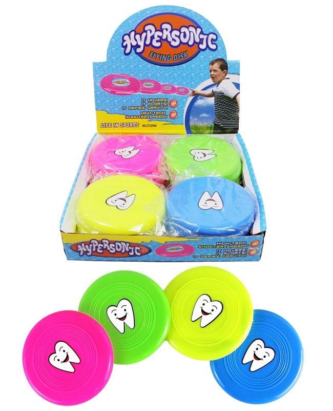 Frisbee 4-fach sortiert mini mit Zahnmotiv - ca 10cm