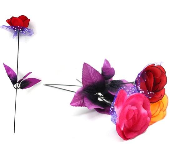 Rose offen mit blauem Tüll 3-fach sortiert - ca 33,5cm