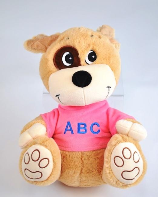 Hund sitzend, Pullover mit Stick ABC ca 30 cm