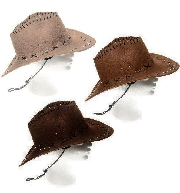 Cowboyhut 3-fach sortiert in Wildlederoptik