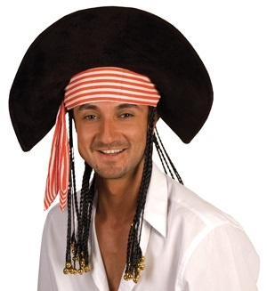 Hut - Piratenhut Dave mit Rastazöpfen