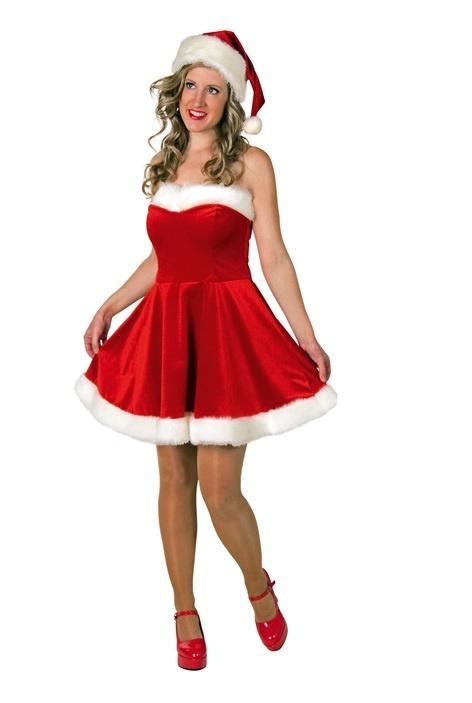 Weihnachtskleid und Mütze aus Glanzsamt