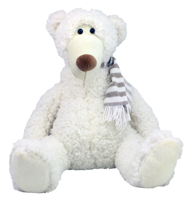 Eisbär Bruno mitSchal sitzend ca 40 cm