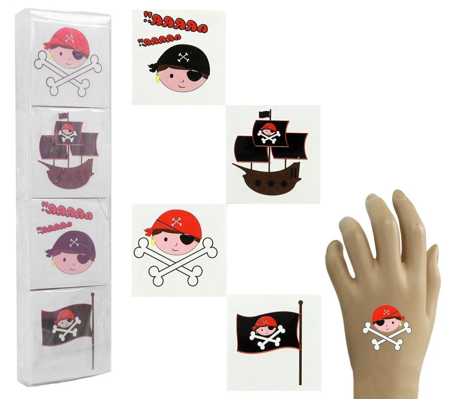 Tattoo Piraten 4-fach sortiert ca 5 x 5 cm