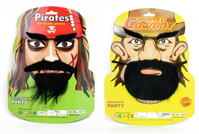 Schnurrbärte Pirat und Cowboy sortiert auf Karte ca28,5x27cm
