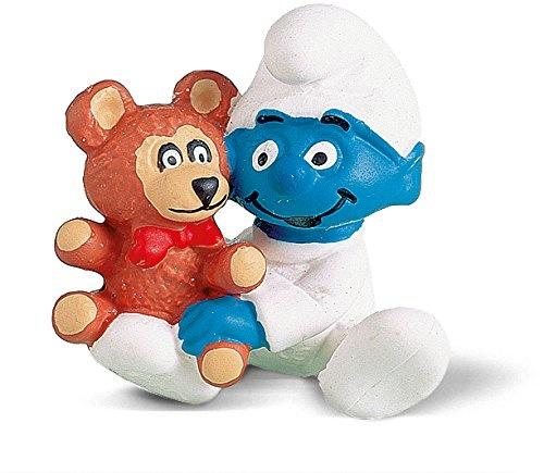 SCHLEICH Schlumpf Baby mit Teddy ca 4cm