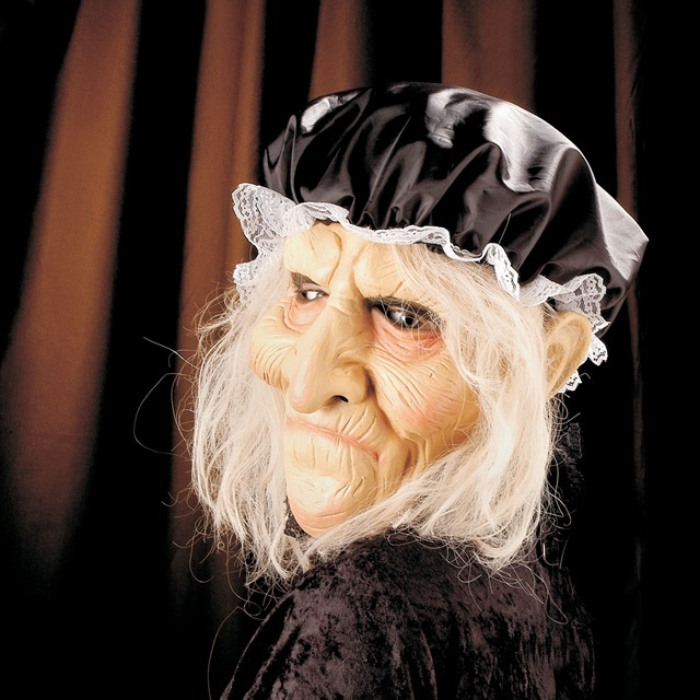 Maske Alte mit Haar und Haube