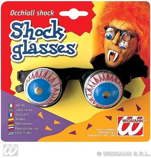 Brille - Schockbrille mit Wackelaugen auf Karte ca 16x15 cm