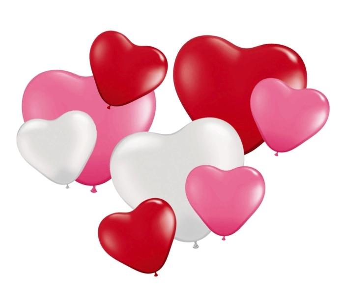 8 Herzballons farbig sortiert