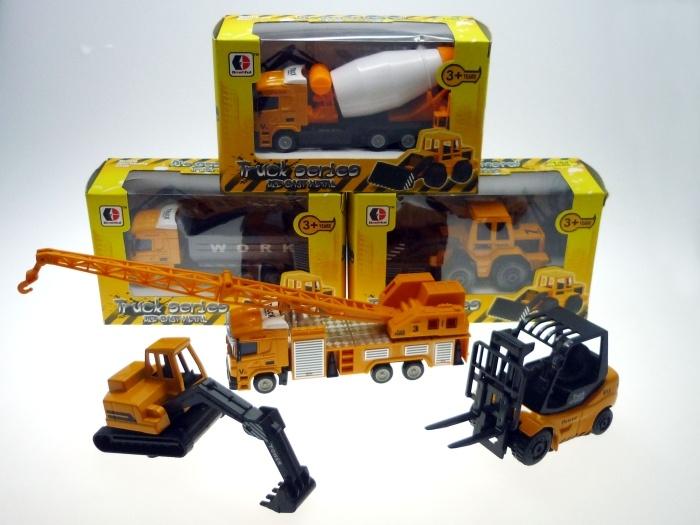 Baufahrzeug METALL 6-fach sortiert in Box ca 16 x 6 cm