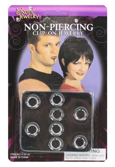 Piercingringe zum Anstecken 8 Ringe auf Karte ca 20x12,5cm
