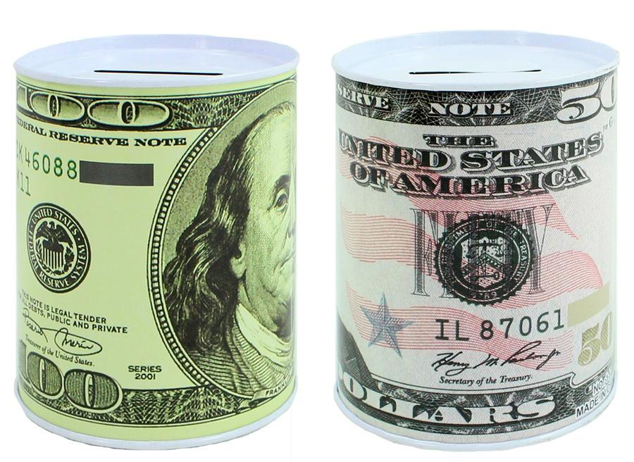 Spardose Dollar-Design 2-fach sortiert - ca 10x7,5cm