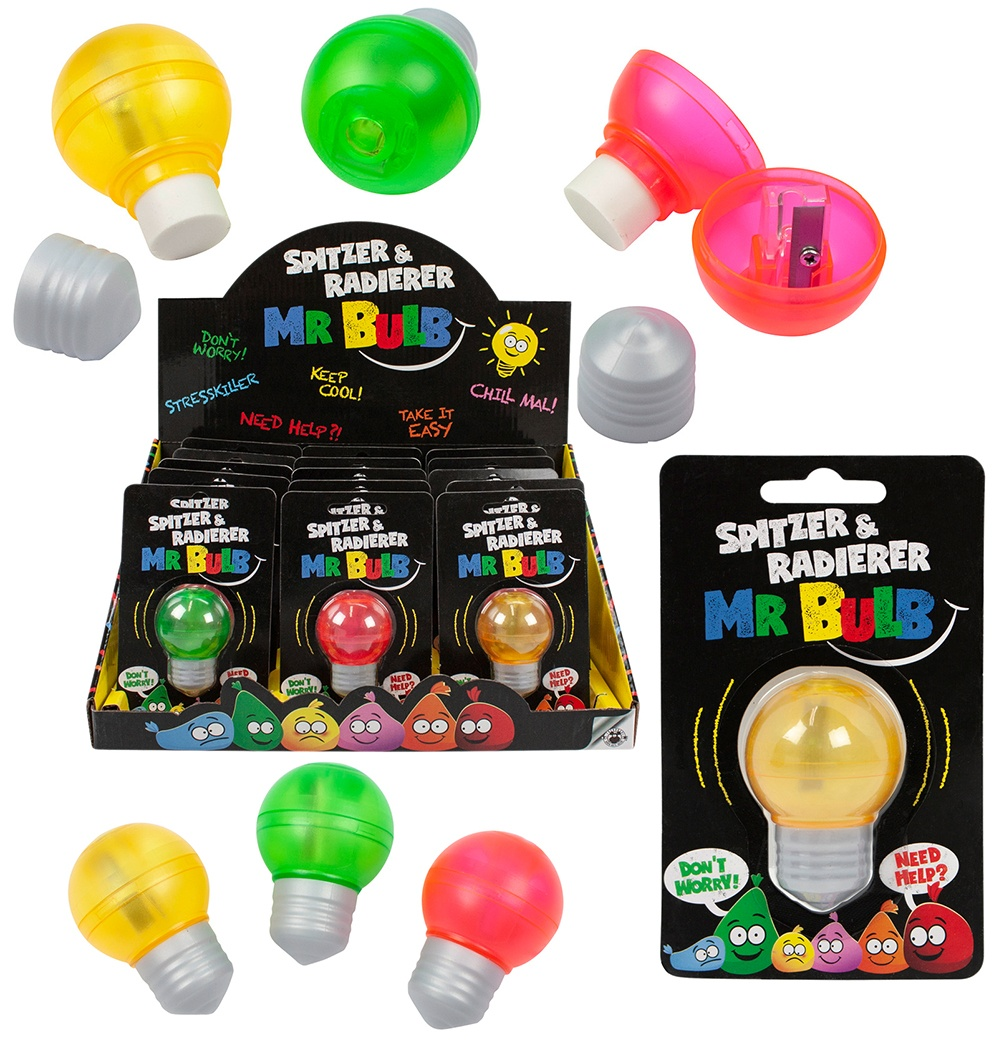 BUDDYS Mr. Bulb Spitzer & Radierer 3-fach sortiert