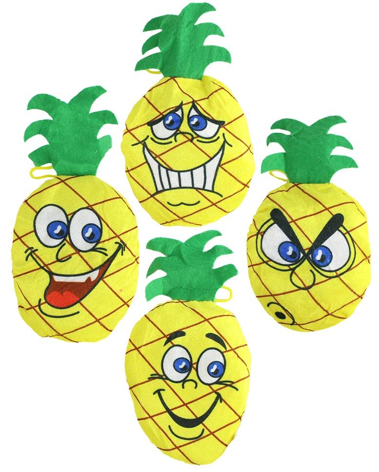 Ananas Plüsch 4-fach sortiert ca 15/24 cm
