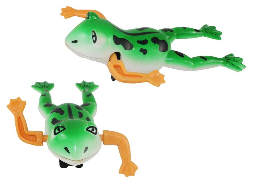 Frosch zum Aufziehen mit beweglichen Armen ca 12,5 cm