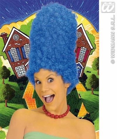 Perücke - Turmfrisur gelockt blau ca 43 cm