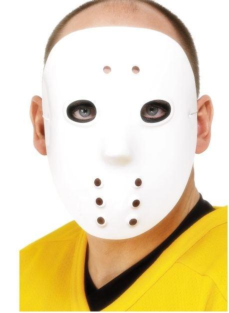 Maske Hockeymaske weiß PVC