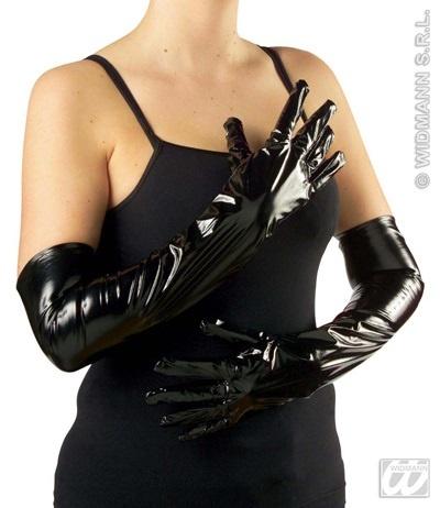 Handschuhe - lange Vinylhandschuhe schwarz - ca 57cm