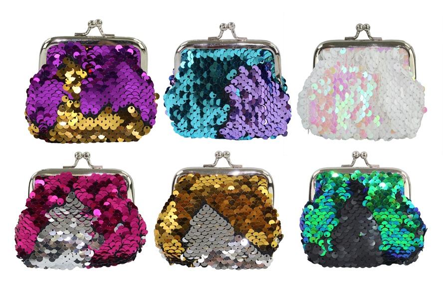 Tasche mit Pailletten mehrfach sortiert - ca 9x9cm