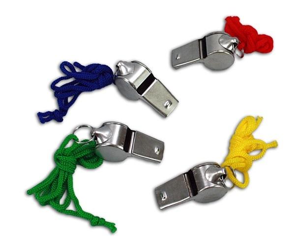 Metalltrillerpfeife 4-fach sort mit buntem Halsband - ca 4cm