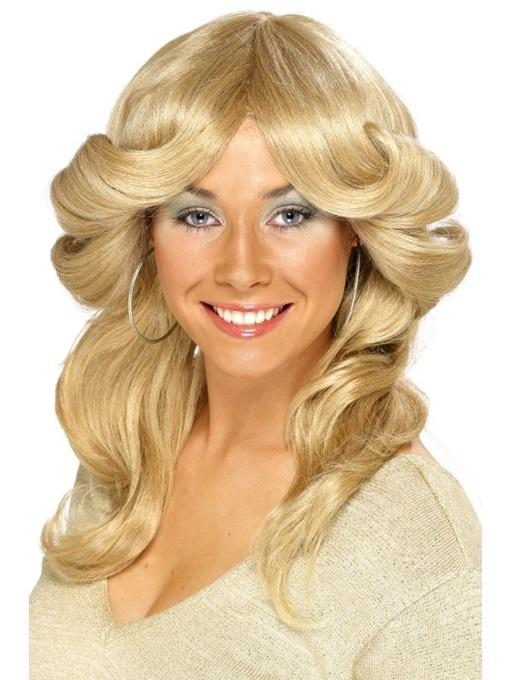 Perücke langhaarig blond 70er Jahre Disco Fever