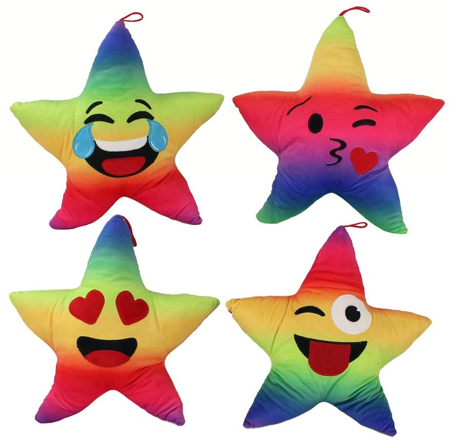 Plüsch Stern mit Lachgesicht regenbogenfarben ca 35cm