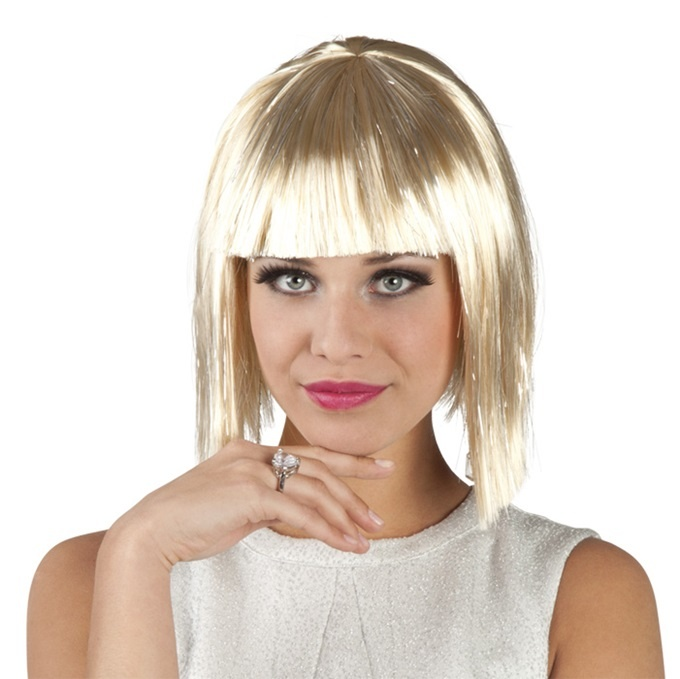 Perücke - Gigi glamour blond mit silber Lametta Strähnen