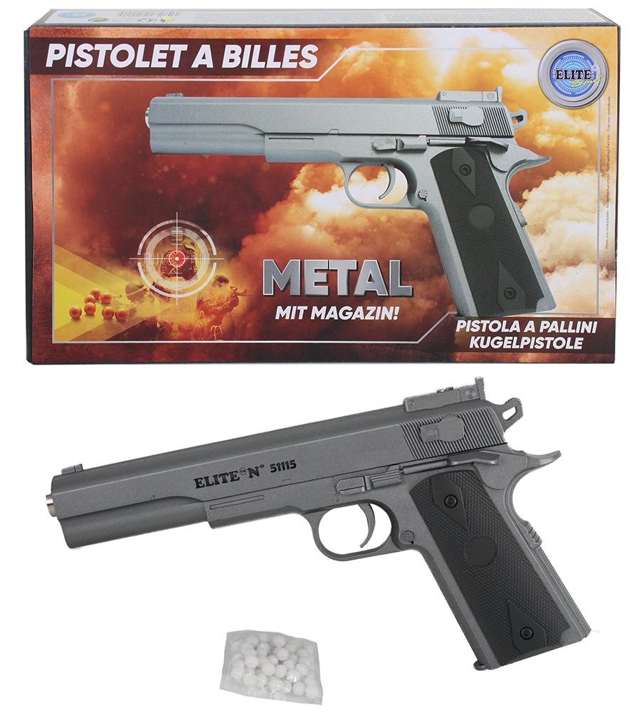 Kugelpistole METALL mit Magazin  max 0,5 Joule ca 25 cm