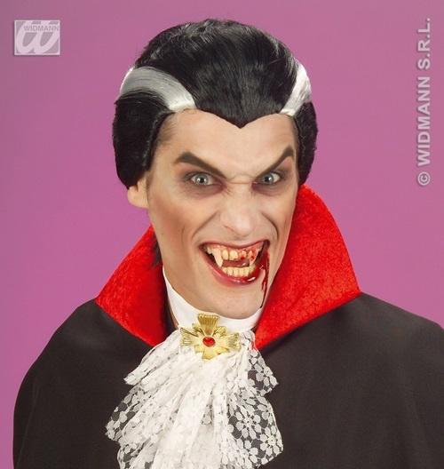 Perücke - Vampir schwarz mit grauem Streifen