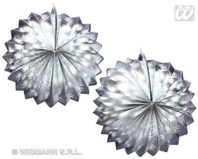Laterne - Dekolaterne Metallic silber 2 Stück - D=ca 24cm