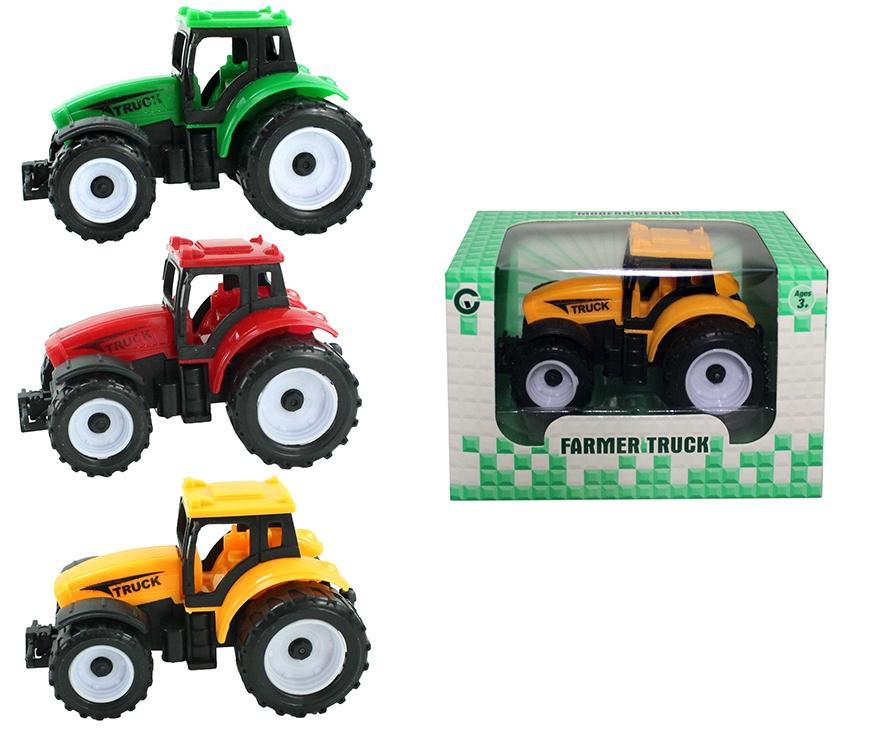 Traktor mit Rückzug 3 Farben sortiert ca 9 cm