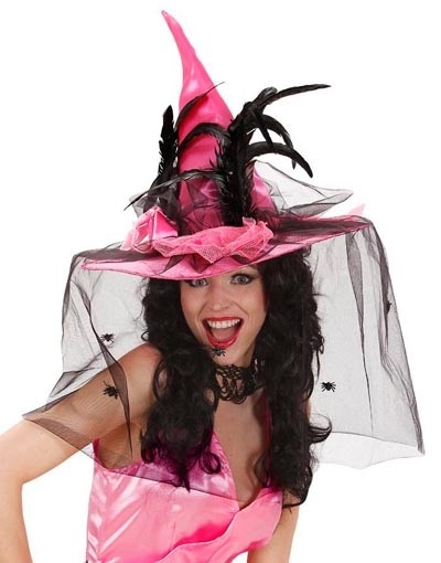 Hut - Hexenhut mit Spinnweben und Federn - pink