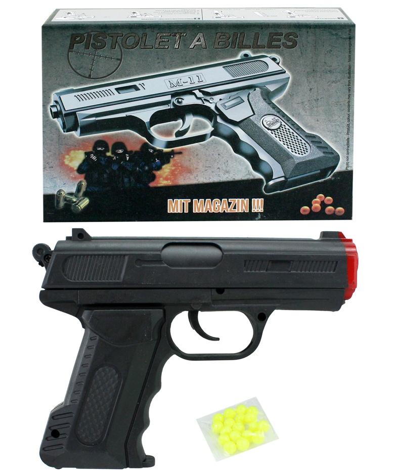 Kugelpistole mit Sicherung in Box max 0,5 Joule ca 16 cm